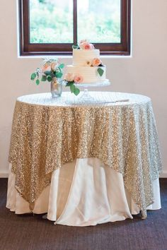 Photo: Rachel Solomon Photography via Style Me Pretty; Unique Wedding Ideas: Add Sparkle with Sequins - wedding cake table idea