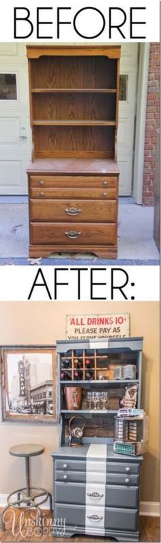 Repurposed Dresser Turned Serving Bar Do you have an old piece of furniture lying around in your home that needs a facelift? Here's a fun idea to turn a childhood dresser into an adult serving bar with just a few coats of paint and some reclaimed. Diy Furniture Redo, Bar Furniture, Refurbished Furniture, Repurposed Furniture, Furniture Projects, Furniture Making, Home Projects, Painted Furniture, Trendy Furniture