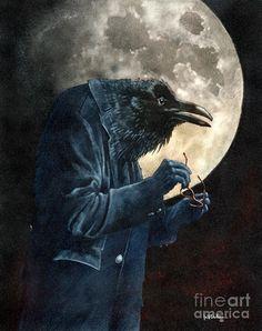 Three quarter moons and near sighted ravens Painting  - Three quarter moons and near sighted ravens Fine Art Print