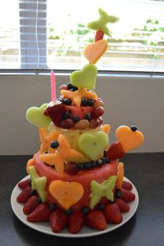 Fresh Fruit Cake for baby's first birthday. Gluten free, egg free, wheat free, sugar free no bake toddler girl 1st party creative idea for a healthy alternative