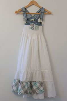 Denim Overalls Dress Boho Shabby Chic Cottage by JosefineandMe