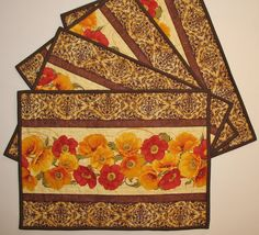 Poppy Place Mats Quilted Set of 4 fabric from by PicketFenceFabric, $36.95