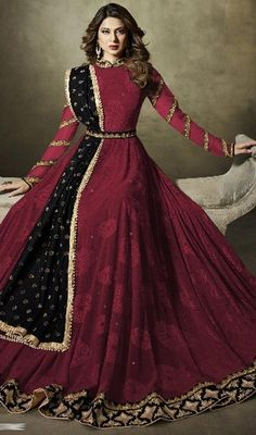 Discover a brand new magic of vogue stepping out in this maroon color china embroidered long Anarkali suit. This beautiful dress is showing some incredible embroidery done with lace and resham work. Indian Gowns, Indian Wear, Indian Outfits, Long Anarkali, Anarkali Suits, Eid Dresses, Pakistani Dresses, New Dress Collection, Bridal Collection