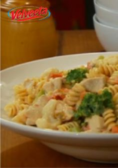 VELVEETA-Cheesy Chicken Rotini — What makes this dish so rich and creamy? The way the cheese melts in and through all the pasta, veggies and slightly hot chiles. All this and it's healthy living recipe, too.