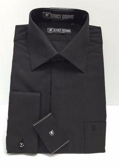 Stacy Adams Solid Ebony (Black) Men Long Sleeve Dress Shirt Pocket/French Cuffs #StacyAdams