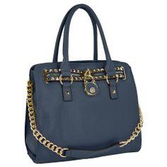 HALEY Dark Blue Bowler Style Handbag