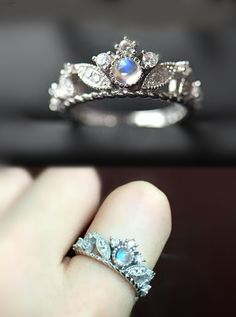 unique art deco moonstone engagement ring