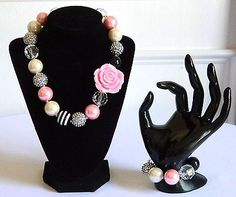 Girls Boutique Necklace & Bracelet Set Costume Chunky Jewelry Pink Black Silver
