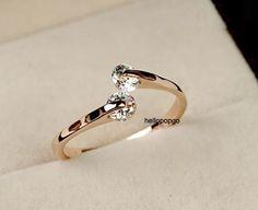 18K Rose Gold GP Swarovski Crystal Unique Ring Size 5 6 7 8 Available   eBay