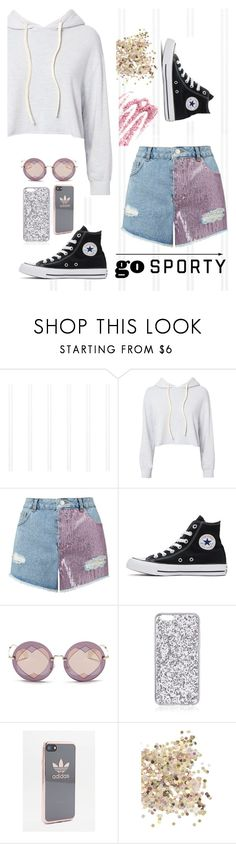 """""""Go"""" by mayadh-alshehri ❤ liked on Polyvore featuring Monrow, Miss Selfridge, Converse, Miu Miu, adidas, Topshop and Obsessive Compulsive Cosmetics"""