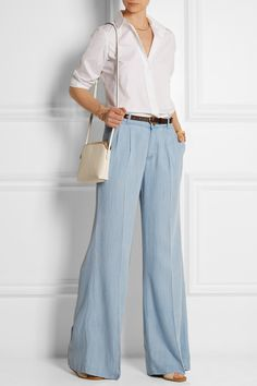 MICHAEL Michael Kors|Chambray wide-leg pants|NET-A-PORTER.COM