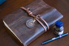 Handmade Leather Journal fossil blank art by ExLibrisLeatherBooks, $125.00