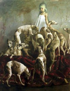 Beautiful painting of a young girl and her whippets