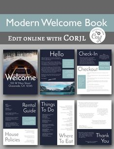 Modern Welcome Book -- 6 Page Vacation Home Printable Template, Airbnb House Manual, Printable, Beach Rental - Edit online with Corjl home buying inspiration Internet Explorer, Microsoft Word, Safari, House Ideas, Cabin Ideas, Edit Online, Online Jobs, Home Buying Tips, Delete Image