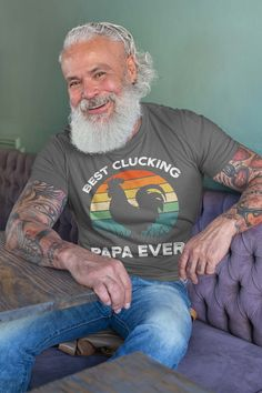 Men's Funny Papa T Shirt Father's Day Gift Best Clucking Papa Ever Shirt Vintage Shirt Retro Rooster Papa Chicken Shirt Grandpa Gifts, Fathers Day Gifts, Cool Shirts, Funny Shirts, Pirate Day, 70th Birthday Gifts, Funny Presents, Jolly Roger, Long Tee
