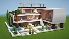 Minecraft Modern Mansion, Minecraft Beach House, Villa Minecraft, Minecraft House Plans, Easy Minecraft Houses, Minecraft House Tutorials, Minecraft House Designs, Minecraft Tutorial, Minecraft Architecture