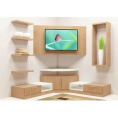 Buy Wonken TV Unit with Laminate Finish online in Bangalore. Shop now for modern & contemporary Living designs online. COD & EMI available. Corner Tv Shelves, Corner Tv Cabinets, Corner Tv Unit, Corner Wall, Tv Shelf, Tv Unit Decor, Tv Wall Decor, Room Decor, Wall Tv