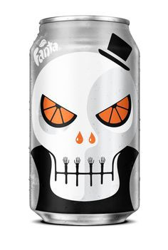 Fanta Halloween Can - designed by NOMA BAR /// - ZERO Skull - Can design #packagingdesign #packaging