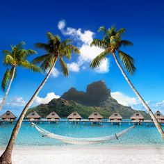 A gorgeous, sunny beach in Bora Bora