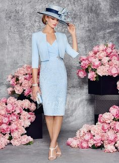 Sheath/Column V-neck Knee-Length Satin Lace Mother of the Bride Dress With Ruffle Appliques Lace Crystal Brooch (0085095821) - Vbridal