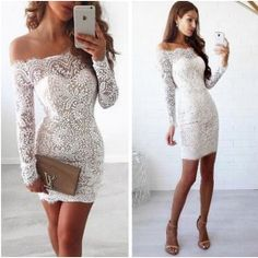 4d1b6da746ff3 Sexy White Off Shoulder Long Sleeves Lace Dress