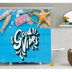 Good Vibes Shower Curtain, Good Summer Vibes Gone to The Beach Holiday Theme with Nautical Elements, Fabric Bathroom Set with Hooks, 69W X 84L Inches Extra Long, Blue Marigold Pink, by Ambesonne #beachthemedweddings Themed Weddings, Holiday Themes, Beach Holiday, Bathroom Sets, Marigold, Beach Themes, Summer Vibes, Hooks, Nautical