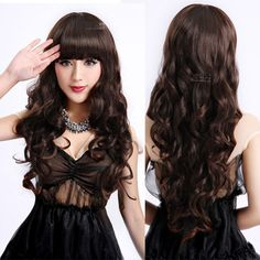$14.52 Cheap wig clip, Buy Quality wigs online directly from China wig wire Suppliers: Ladies Long Curly Wavy Heat Resistant Cosplay Wig Women Natural As Real Hair Black Synthetic Wigs With Bangs Perucas Pelucas