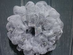 Large Mesh White and Silver Wedding Wreath by Silk by SilkNLights Wreath Crafts, Wreath Ideas, Wedding Wreaths, Wedding Decorations, Deco Mesh Wreaths, Lion Sculpture, Anniversary, Decor Ideas, Lights