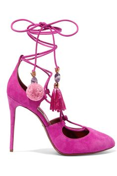 Dolce & Gabbana - Embellished Lace-up Suede Pumps - Fuchsia