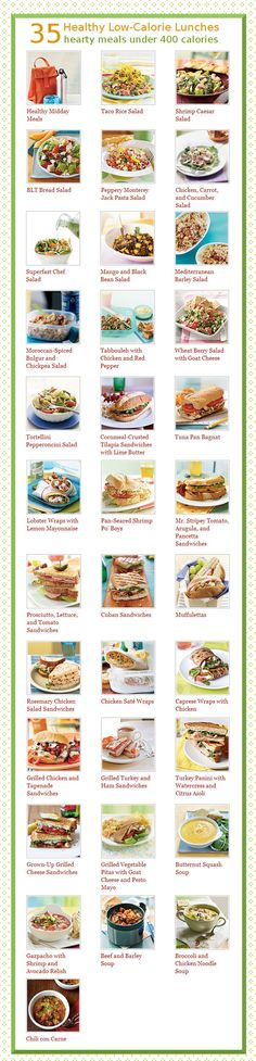 Healthy ideas for the middle of the day that are all less than 400 calories.  www.anniefreed.com