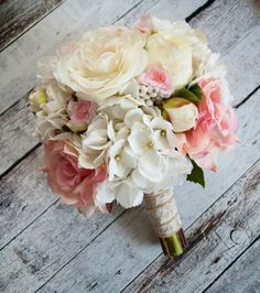 Wedding Bouquet Ivory and Blush Pink Rose and by KateSaidYes