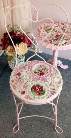 Adorable Vintage Ice Cream Chair with Rose China Mosaic Seat- $315.00  www.grindstonemountainmosaics.com