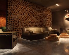 Log Wall Design, Pictures, Remodel, Decor and Ideas love the tables too