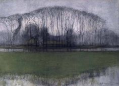 Geinrust farm in watery landscape Piet Mondrian. I had no idea that Mondrian had been a landscape painter. Piet Mondrian, Abstract Landscape, Landscape Paintings, Dutch Painters, Dutch Artists, Art Plastique, Tree Art, Land Scape, Impressionism