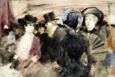 books0977:  Au Théâtre (1882). Jean-Louis Forain (French, 1852-1931). Watercolor, pen and brown ink and black traces of graphite on paper. Here Forain captures a moment of contemporary life: a way of being, exchanging looks, and leaning slightly to catch what another person is saying about the show they have both just seen. To give the scene immediacy for the spectator, the four characters in the foreground are shown from the waist up and a female figure in the foreground is seen from…