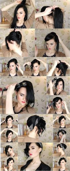 I love the bandana look on women who have short hair and came across this tutorial that I had to share for long-hair. Can't wait to try it!  http://longhairstyleshowto.com/easy-updo-using-bandana/