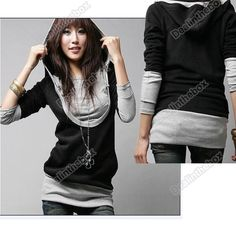 0eea59b321c4 New Korea Womens Lady Long Sleeve Cotton Tops Dress Hoodie Coat Fashion