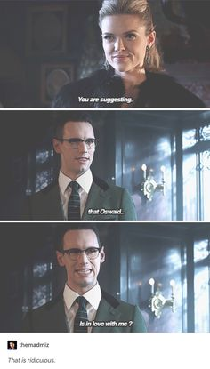 """""""You are suggesting... that Oswald is in love with me?"""" - Ed and Barbara #Gotham"""
