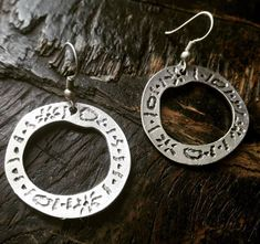 Boho Earrings, Silver Earrings, Silver Jewelry, Ancient Symbols, Antique Silver, Silver Plate, Boho Chic, Shapes, Sterling Silver