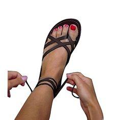 Juleya Sandales Plates Femmes Été Femme Chaussures Lacets à Bride Cheville en Cuir Confort Sandals Macbook Air 11, Roman, Flip Flops, Shoe Bag, Sandals, Computer, Bags, Shoes, Fashion