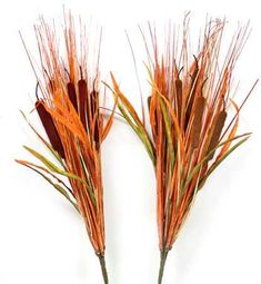 "22"" Fall Artificial Flocked Cattail Floral Bush"
