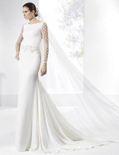 Vestidos de novia en crep y satén con aplique de cintura y galón lateral.