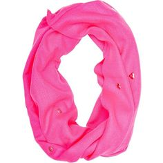 Betsey Johnson Heart Grommet Infinity ($22) ❤ liked on Polyvore featuring accessories, scarves, betsey johnson, pink, infinity circle scarf, infinity loop scarf, loop scarf, pink scarves and pink shawl