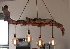 Original wooden chandelier f - Wood Decora la Maison Rustic Lamps, Wood Lamps, Rustic Lighting, Rustic Decor, Driftwood Chandelier, Branch Chandelier, Deco Luminaire, Elegant Chandeliers, Bedroom Lamps