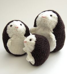 "Knitting Patterns for Hedgehog Family Toys -The Hedgehogs pattern is a quick knit with only two short sewn seams. Large 5.5"" (Medium 4.5"", Small 3.25"") tall"