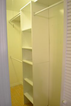 Closetmaid system on the right side, shelf above. Store linens on this side ClosetMaid 12 in. White Stackable Storage Organizer $13.98 Home Depot, stacked