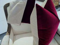 Belgian Velvet pillow covers in Berry