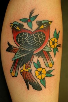 Traditional Bird And Flower Tattoos