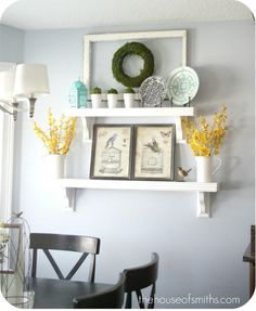 Great idea for the dining room. Shelves that can be used to change  out with almost every holiday and season.
