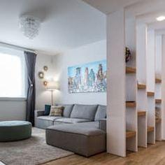 Un appartamento moderno con un giusto mix di materiali di recupero: Soggiorno in stile in stile Moderno di QUADRASTUDIO Divider, Interior Decorating, Sweet Home, Living Room, Space, House, Interiors, Inspiration, Furniture